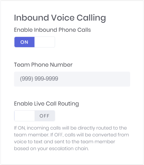 Inbound Phone Number Configuration